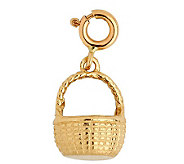 14K Yellow Gold 3-D Basket Charm - J108020