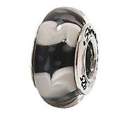 Prerogatives Sterling Black and White Glass Bead - J108820