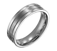 Forza Mens 6mm Steel Flat Satin Polished Ring - J109520