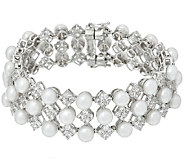Honora Cultured Pearl 6.0mm Small White Topaz Sterling Bracelet - J149420