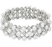 Honora Cultured Pearl 6.0mm Small White Topaz Sterling Bracelet - J149420
