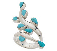 Dominique Dinouart Sterling Turquoise Leaf Wrap Ring - J268620