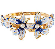 Kenneth Jay Lanes Enamel Dreamtime Lily Bangle Bracelet - J276220