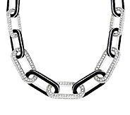 Kenneth Jay Lanes Pave & Black Enamel Link Necklace - J284820