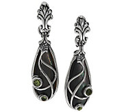 Carolyn Pollack Sterling Mother-of-Pearl and Peridot Dangle Earrings - J285020