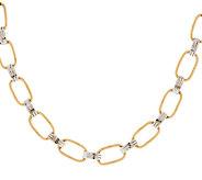 14K Gold 16 Two-Tone Textured Link Design Necklace, 8.1g - J289320