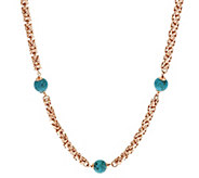 Bronze 36 Turquoise Bead Byzantine Necklace by Bronzo Italia - J293020