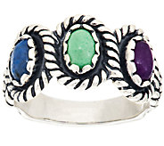 American West Multi-Gemstone Flower Design Sterling Ring - J295020