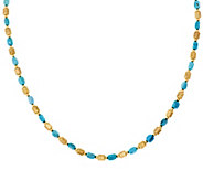 Bronze 18 Turquoise & Satin Bead Necklace by Bronzo Italia - J296320