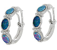 Judith Ripka Sterling Australian Opal Triplet Hoop Earrings - J297020