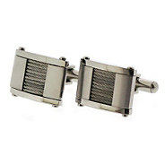 Forza Mens Steel Cuff Links with Steel Cable Wires - J297220