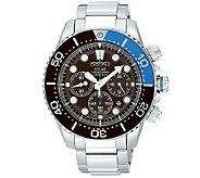 Seiko Mens Stainless Steel Black Dial Chronograph Sport Watc - J309120