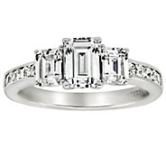 Diamonique 3.40 cttw 3 Stone Ring, Platinum Clad - J309720
