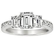 Diamonique 3.40 cttw 3 Stone Ring,Platinum Clad - J309720