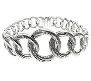 Judith Ripka Sterling Silver 7 Textured Link Bracelet - J312320