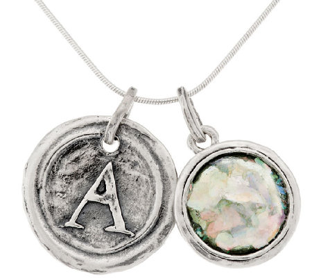 sterling silver glass initial charm necklace by or
