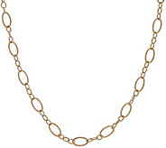 14K Gold 32 Textured and Polished Oval Link Necklace, 5.3g - J324620