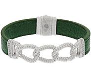 As Is Judith Ripka Sterling Verona Link Green Leather Bracelet - J326120