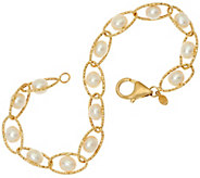 Honora 14K Gold Cultured Pearl 6.0mm Twist Link 8 Bracelet, 4.2g - J329120