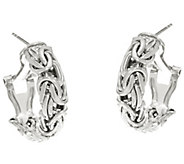 Sterling Silver 7/8 Byzantine Omega Back Hoop Earrings by Silver Style - J346420