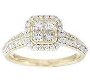 As Is Michael Beaudry 1 ct tw Diamond Cushion Halo Ring, 14K Gold - J346520