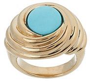 As Is 14K Gold Sleeping Beauty Turquoise Swirl Ring - J346620