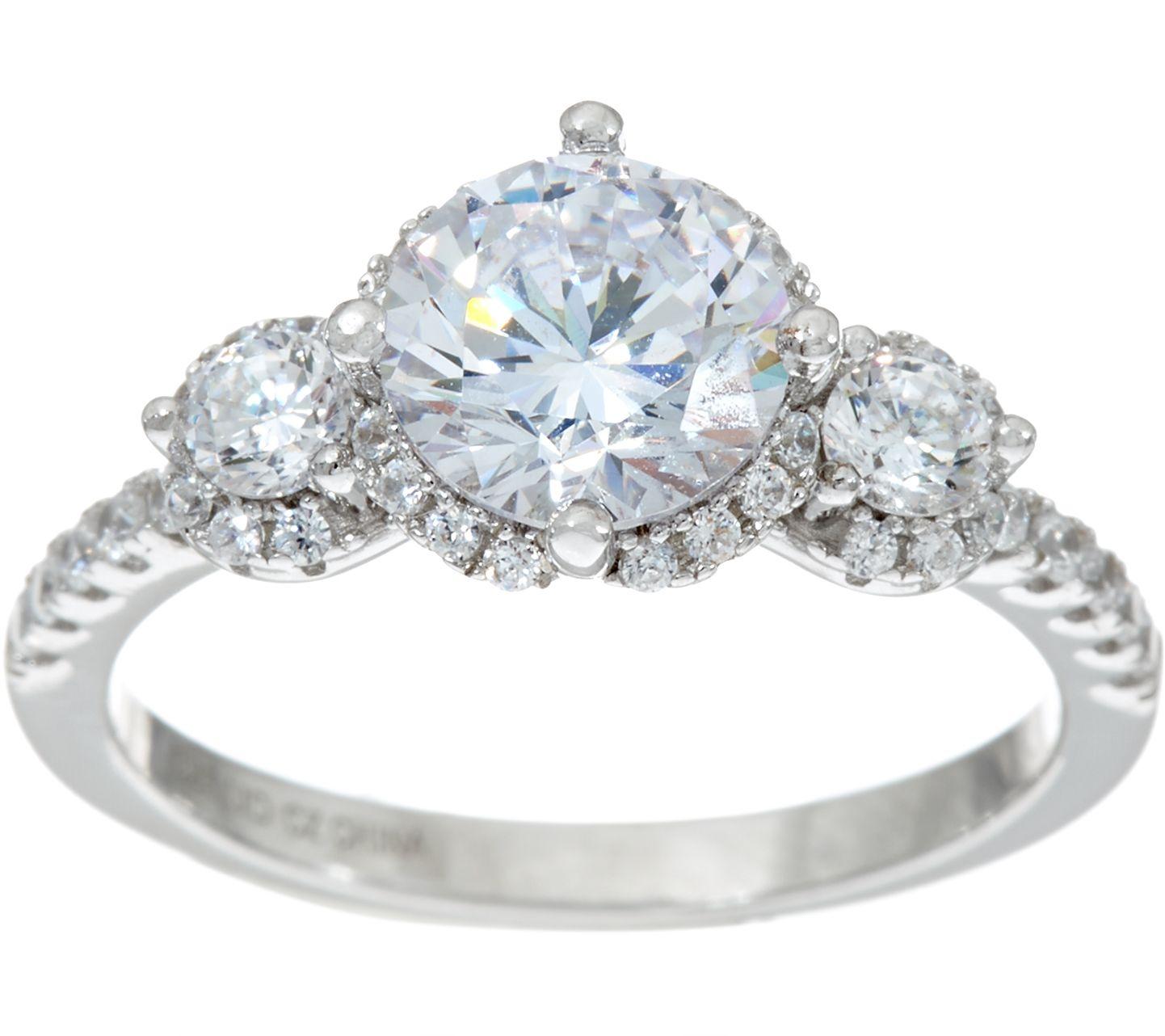 diamonique three bridal ring platinum clad page 1