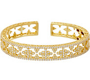 Judith Ripka 14K Clad Estate Style Diamonique Cuff Bracelet - J348220
