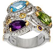 Pear Shaped Multi-Gemstone Bold Sterling Ring 4.60 cttw - J349220