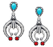 American West Turquoise & Coral Sterling Naja Dangle Earrings - J351320