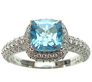 Judith Ripka Sterling and Blue Topaz with Diamonique Ring - J376820