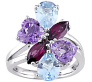 5.95 ct Multi-Gemstone Ring, 14K White Gold - J377220