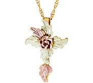 Black Hill Gold Rose Bud Cross w/Chain 10K/12K - J379420