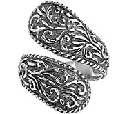 American West Sterling Diamond-Cut Scroll Bypass Ring - J380320