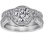 Diamonique 2.10 cttw Round Halo Ring Set, Platinum Plated - J380520