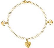 Italian Gold Heart Charm Bracelet 14K, 1.9g - J382020
