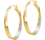 Italian Gold 1-1/2 Oval Twisted Hoop Earrings14K, 3.4g - J382220