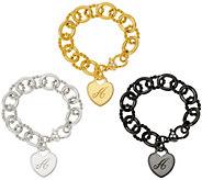 Judith Ripka Verona Heart Initial Rolo Link Bracelet 37.8g - J56020