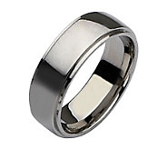 Stainless Steel Ridged Edge 8mm Polished Ring - J107821