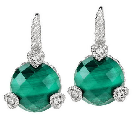 judith ripka sterling faceted gemstone opaque earrings