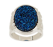 JMH Jewellery Sterling Silver Shamrock Drusy Quartz Ring - J276121