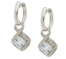 "As Is"" 1.25 ct tw Aquamarine & White Zircon Sterling Dangle Earrings"