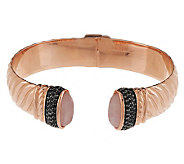 Bronze Large Gemstone Hinged Cuff Bracelet by Bronzo Italia - J284321