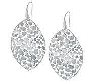 Vicenza Silver Sterling Bold Pebble Design Marquise Shaped Dangle Earrings - J290121