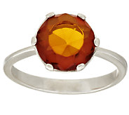 Faceted Baltic Amber Sterling Ring - J294521