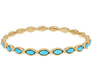 14K Gold Sleeping Beauty Turquoise Average Round Bangle - J295421