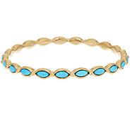14K Gold Sleeping Beauty Turquoise Average Round Bangle - J295421