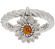 Judith Ripka Sterling Citrine Flower Charm Ring - J295621