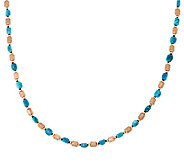 Bronze 20 Turquoise & Satin Bead Necklace by Bronzo Italia - J296321
