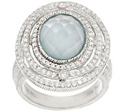 Judith Ripka Sterling & Diamonique 4.00 ct Frosted Blue Topaz Ring - J296621
